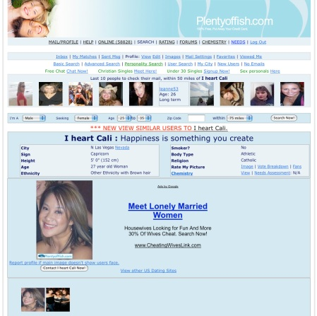 Screenshot from a User's Profile on PlentyOfFish.com
