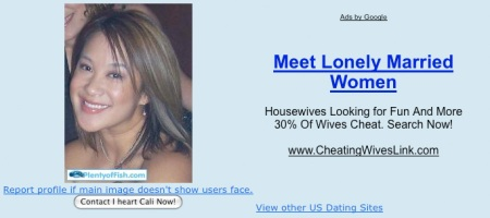 Inappropriate ad displayed right next to user's profile photo on PlentyOfFish.com